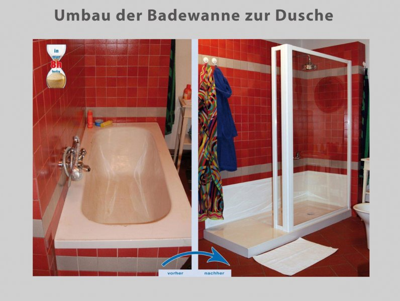 umbau wanne zur dusche in nur 8 stunden badbarrierefrei halle. Black Bedroom Furniture Sets. Home Design Ideas